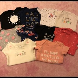 (10) Short Sleeve Baby Girls' Onesies